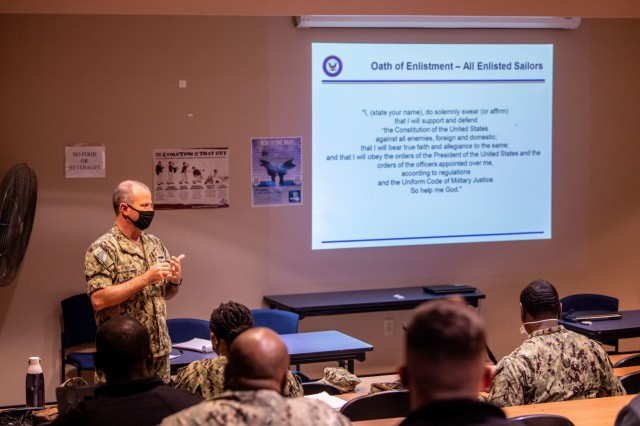 Senior Chief Petty Officer Kevin Hogan teaches a class for the extremism stand-down at the Navy Operational Support Center Columbia March 7.