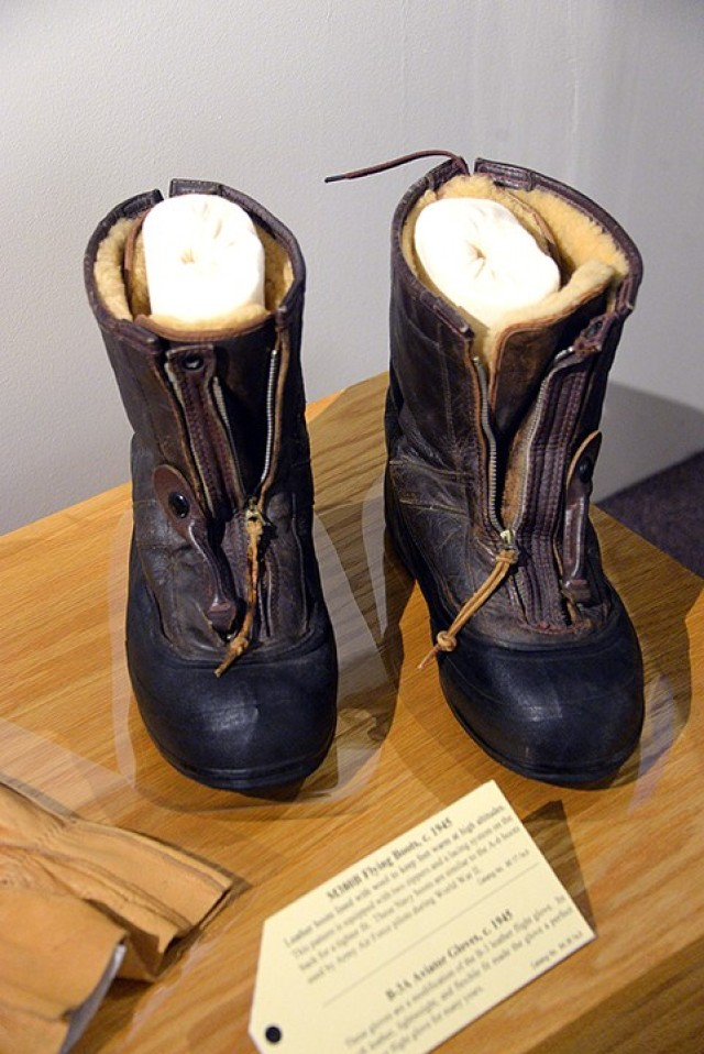 These wool-lined Navy flight boots, similar to boots worn by Army Air Force pilots in World War II, are on display with other early aviation-related items in the recently installed Frontier Flight exhibit at the Frontier Army Museum. Photo by Prudence Siebert/Fort Leavenworth Lamp