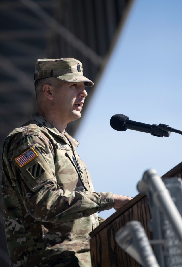 Command Sgt. Maj. Daniel T. Hendrex, the U.S. Army Training and Doctrine Command's senior enlisted leader, speaks to trainees of 1st Battalion, 34th Infantry Regiment, March 11 on Hilton Field at Fort Jackson, S.C. Hendrex spoke about what it meant to be a Soldier.