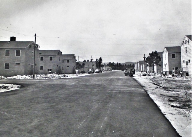 This historical photo shows military construction of barracks and other buildings on the 200 block of the cantonment area July 20, 1942, at Fort McCoy, Wis. The installation was then called Camp McCoy. Construction like this took place all throughout the early 1940s on post to expand to support operations and training for World War II. (U.S. Army Historical Photo)