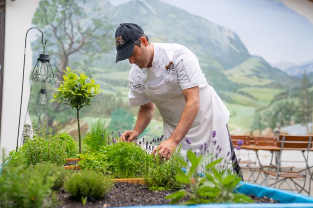 Executive chef Stephen Losee checks on fresh herbs and vegetables growing at the Edelweiss Lodge and Resort. The lodge's restaurants are adapting a farm-to-table approach to dining.