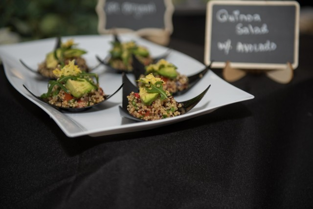 Stuffed avocado with quinoa salad dishes wait to be sampled by guests at the Always Ready Warrior Restaurant March 12.  For the event, five culinary specialists prepared different menu items from breakfast, lunch and dinner, with choices ranging from vegan breakfast burritos with scrambled tofu, stuffed avocados with quinoa salad or homemade spinach pasta with fresh vegetable ragu, to name a few. (U.S. Army photo by Sgt. 1st Class Kelvin Ringold)