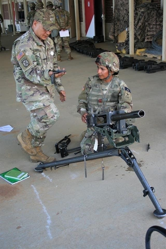 Spc. Zahraa Frelund, then a private first class, trains on the Browning M2 .50-cal machine gun during One Station Unit Training at Fort Benning, Georgia in 2019. Frelund completed OSUT and joined the 3rd Armored Brigade Combat Team, 4th Infantry Division, at Fort Carson, Colorado in the summer of 2019. (Photo courtesy of Zahraa Frelund)