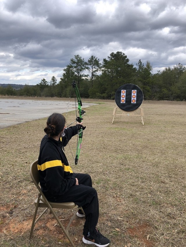 Army Trials athlete 1st Lt. Angelica Forero trained at Fort Benning, Ga. on February 22, 2021. During the 2021 Army Trials, she competed in rowing, cycling, air rifle and archery. (Photo courtesy Annalise Doyle)