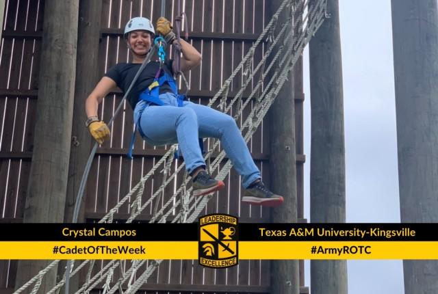 Cadet Crystal Campos trained to become a certified challenge course safety, allowing her to help facilitate a rappel tower event for the Javelina Battalion.