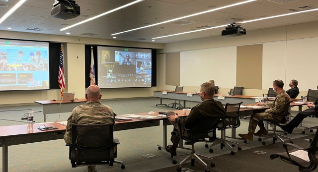 Gen. James C. McConville, U.S. Army Chief of Staff, and other Army leaders receive an outbrief from the Army Talent Management enterprise during the third Army Talent Management Annual Planning Conference on March 18, 2021 at the Mark Center in Crystal City, Va.