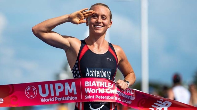 Sgt. Samantha Schultz crosses the finish line during the 2019 Biathle/Triathle World Championships in St. Petersburg, Florida. Schultz qualified for the Olympics in Tokyo by placing second at the 2019 Pan-American Games modern pentathlon in Lima, Peru. At St. Petersburg, Schultz won gold in the mixed relay events and in the individual biathle and triathle, which are subevents of the modern pentathlon for training purposes.