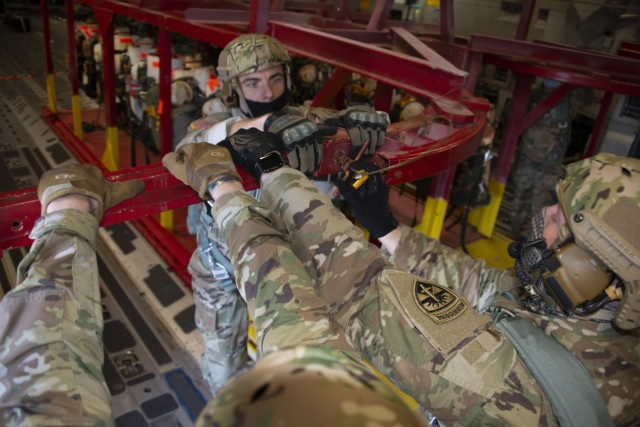 Ft. Bragg Army test paratroopers check leading edge possible T-11 parachute replacements