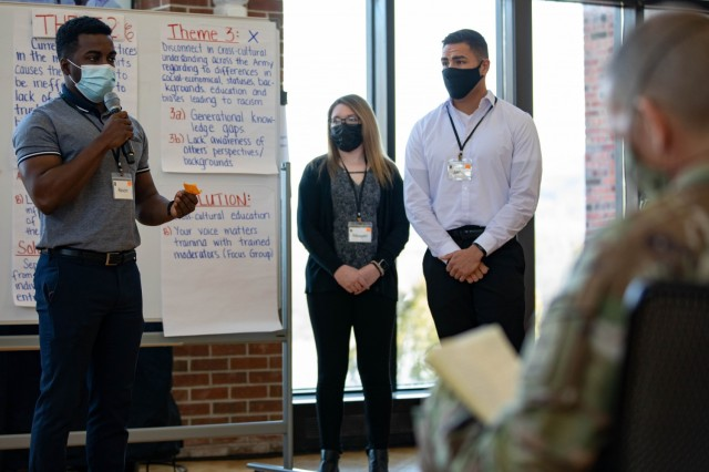 """Soldiers present their finding to Army leaders during a """"people first"""" themed solarium at the U.S. Military Academy in West Point, N.Y., March 15-19, 2021. The solarium was structured to facilitate small group discussions between attendees about challenging topics and provide Army senior leaders with fresh insight and potential solutions."""