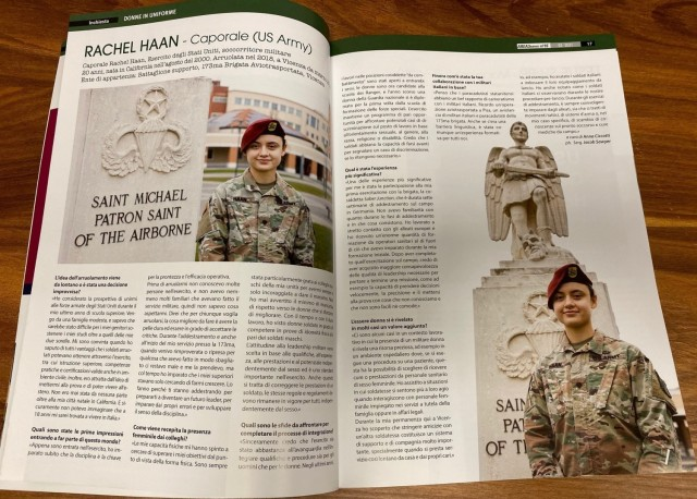 Spc. Rachel Haan, combat medic assigned to the 173rd Brigade Support Battalion (Airborne), 173rd Airborne Brigade, located on Caserma Del Din in Vicenza, Italy participated in an interview with an Italian monthly magazine AREA3 featuring women in uniform February 2021. A native of California, the 21-year-old and arrived to Del Din in August 2020.