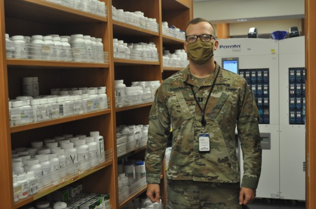 Martin Army Community Hospital Officer in Charge of Outpatient Pharmacy Capt. Jacob Van Bemmel implemented innovations which drastically cut wait times for beneficiaries picking up prescriptions.
