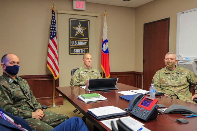 (From left to right) Brig. Gen. Alcides V. Faria, Jr., U.S. Army South deputy commanding general for interoperability, Maj. Gen. Daniel R. Walrath, U.S. Army South commanding general and Command Sgt. Major Trevor C. Walker, U.S. Army South senior enlisted advisor, attend the first Central American Working Group Meeting of Principals March 23, virtually, at U.S. Army South headquarters, Fort Sam Houston, Texas. The CENTAM Working Group Principals Meeting is a forum for army commanders representing El Salvador, Guatemala, Honduras and the United States to enhance professional relationships and plan for cooperation activities for the next five years. Maintaining strong relationships is a cornerstone of Army South's engagements.