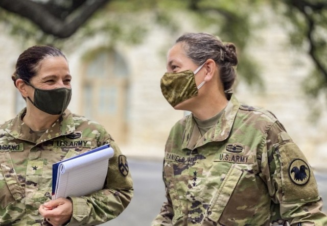 Lt. Gen. Jody J. Daniels, right, chief of Army Reserve, shares a moment with Brig. Gen. Cheryn Fasano,  deputy commander of 377th Theater Sustainment Command, at Fort Sam Houston, Texas, Sept. 22, 2020.