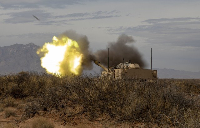 U.S. Army Soldiers with 2nd Battalion, 3rd Field Artillery Regiment, 1st Armored Brigade Combat Team, 1st Armored Division, shoot a M109 Paladin as part of a battalion-level artillery qualification exercise, March 8, 2021, at the Dona Ana Range Complex, NM. This field training exercise is in preparation for an upcoming National Training Center rotation. (U.S. Army photo by Pfc. Luis Santiago).