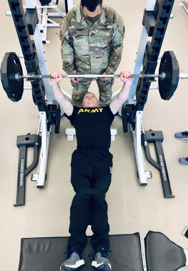 Cpl. Chance Boleware competes in the adaptive powerlifting event. (Photo via Robyn Womac)