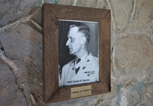 Hanging inside the small stone entrance to the Main Post Cemetery hangs a photo of its only Medal of Honor recipient.