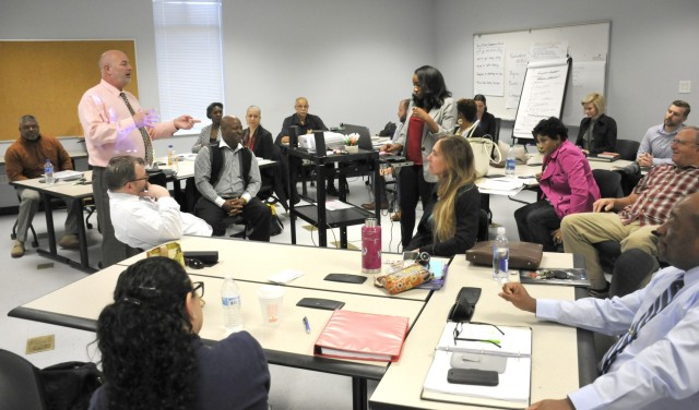 IMCOM instructor Larry A. Doxtater teaches the CP-29 supervisors course March 29 on Fort Stewart. The once in-person training have now transitioned to a virtual setting due to the COVID-19 pandemic. Once developed with senior civilian leadership in mind, the courses have now transitioned into shorter half day virtual trainings that are offered to any Department of the Army civilian employee who would like to attend. (Photo by Pat Young)
