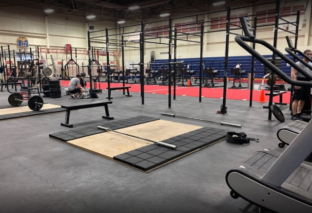 "Cunningham Gym is testing a 24-hour, seven-days-per-week schedule during the month of April as part of a new pilot program entitled ""This We'll Defend Fitness."""
