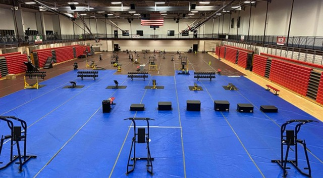 Workout stations are arranged on the gym floor at Davidson Fitness Center.