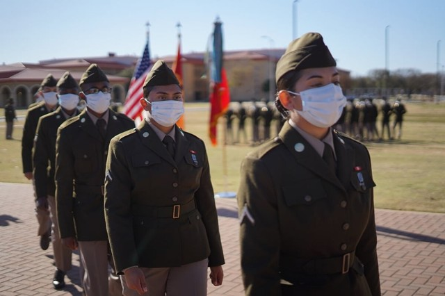 """The 434th Field Artillery Brigade Class 64-20, Alpha Battery, 1st Battalion, 79th Field Artillery Regiment, became the first graduating class nationwide to wear the """"new"""" Army Greens service uniforms Nov. 16."""