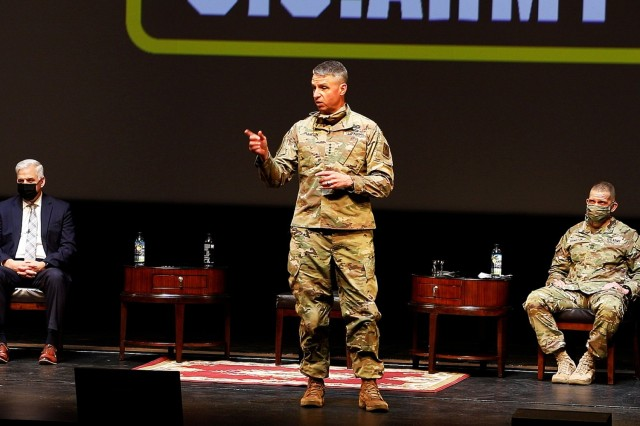 Gen. Joseph M. Martin (center), the 37th vice chief of staff of the Army, answers a question from the audience as Acting Under Secretary of the Army Christopher Lowman (left) and Sgt. Maj. of the Army Michael A. Grinston (right) listen in the background during the U.S. Army's People First Task Force's Solarium March 15 at West Point. (Photo by Sgt. Phillip Tross)