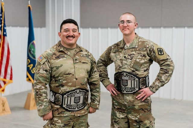 Sgt. Andrew Gonzales, 1st Battalion, 635th Armor Regiment and Spc. Nikolas Decker, 2nd Battalion, 130th Field Artillery, were named noncommissioned officer of the year and Soldier of the year, respectively, at the 2021 Kansas Army National Guard Best Warrior Competition held at the Great Plains Joint Training Center in Salina, Kansas, Mar. 17-21. Best Warrior assesses Soldiers' abilities to competently execute basic soldier tasks, such as conducting medical evacuation, responding to a chemical attack, preforming land navigation, and overcoming multiple physical challenges.