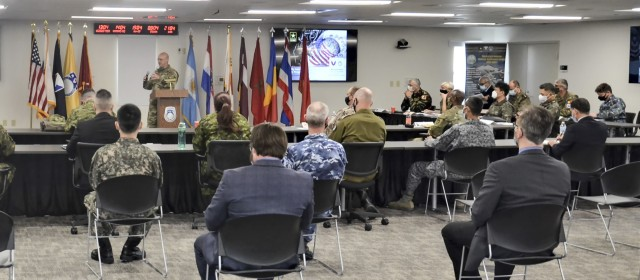 Brig. Gen. Douglas Lowrey, commander of Army Security Assistance Command,  speaks about the Security Assistance Liaison Office to a crowd consisting of fellow USASAC employees, Security Assistance Liaison Officers, and representatives from 8 different partner nations. The SALO program allows military representatives from key partner countries, to live and work in the U.S. as direct liaison officers between their country leadership and USASAC, to help manage their foreign military sales cases.