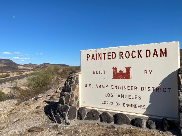 The Painted Rock Dam entrance can be seen in this March 24 picture near Gila Bend, Arizona. The U. S. Army Corps of Engineers Los Angeles District completed construction of the dam in 1960.