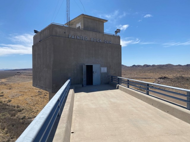 The Painted Rock Dam Control House entrance is pictured March 24 near Gila Bend, Arizona. The dam is a major flood control project in the Gila River Drainage Basin, constructed and operated by the U. S. Army Corps of Engineers Los Angeles District.