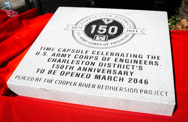 Senior leaders, media and the city mayor gathered outside U.S. Army Corps of Engineers, Charleston District's headquarters March 26 to fill a time capsule commemorating the District's 150-year history of service to the state and nation.