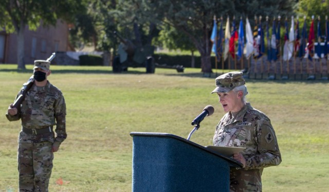 Then-Maj. Gen. Laura A. Potter speaks during the U.S. Army Intelligence Center of Excellence change-of-command ceremony at Fort Huachuca, Ariz., Aug. 11, 2020. Potter is now a lieutenant general and the deputy chief of staff, G-2.
