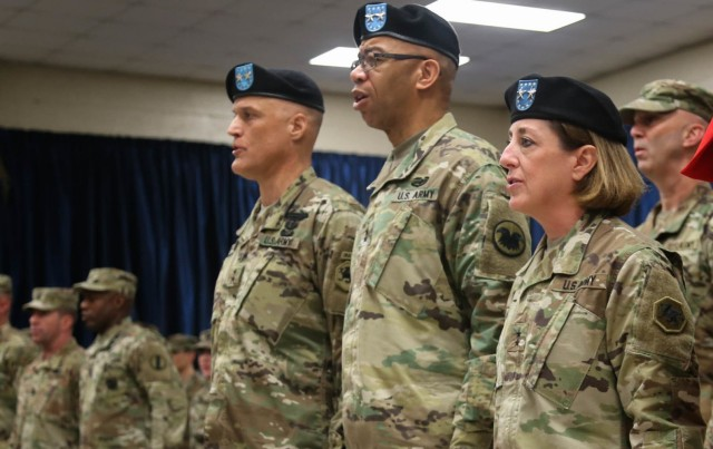 Reserve Maj. Gen. Kate Leahy, right, the former commander of the 108th Training Command, Initial Entry Training, participates in a change of command ceremony in Charlotte, N.C., Feb. 8, 2020. Leahy is now the assistant deputy chief of staff, intelligence.
