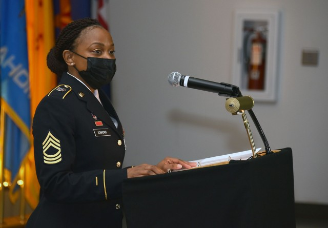 Master Sgt. Lakesha Edmond speaks during a Women's History Month commemoration event March 26 at Fort Detrick, Maryland. The event was sponsored by U.S. Army Medical Logistics Command.