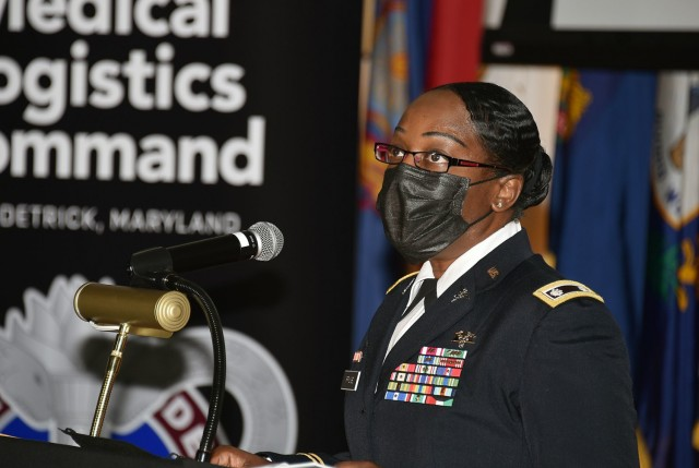 Lt. Col. Tyra Fruge speaks during a Women's History Month commemoration event on March 26 at Fort Detrick, Maryland. The event was sponsored by U.S. Army Medical Logistics Command.