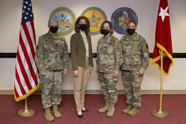 Lt. Gen. Laura A. Potter, left, the deputy chief of staff, G-2, poses for a photo with Diane Randon, the assistant deputy chief of staff, G-2; Reserve Maj. Gen. Mary-Kate Leahy, the assistant deputy chief of staff, intelligence; and Sgt. Maj. Julie Guerra, the G-2's senior enlisted advisor.