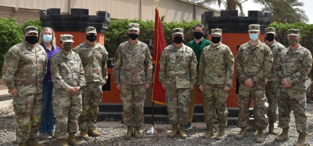 The team of teams of the Transatlantic Afghanistan District return the support to their Senior Enlisted Leader, Sergeant Major Nathan Marshall as they give him a Soldier's Send-Off. (Photo by Rick Benoit)