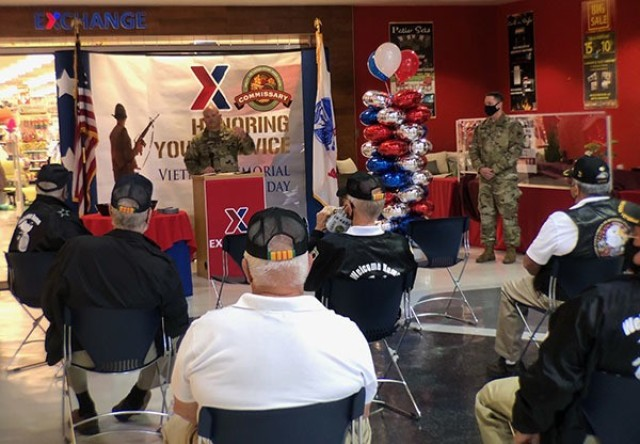 The Fort Stewart-Hunter Army Airfield Garrison Commander, Col. Bryan Logan, and Garrison senior enlisted leader, Command Sgt. Maj. Bryan Buchanan, visited the Fort Stewart Main Post Exchange to honor local Vietnam veterans during a pinning ceremony March 29 on Fort Stewart.