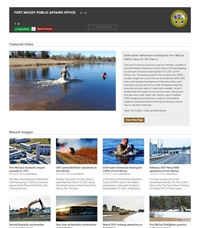This screenshot of the official Fort McCoy, Wis., Defense Video and Imagery Distribution Service Page is shown March 24, 2021. The page, along with several other online presence pages and websites, were the reason the Fort McCoy Public Affairs Office earned a first place award for the 2020 Army Material Command Outstanding Digital Media Management Award. (Photo by Scott Sturkol, Fort McCoy Public Affairs Office)