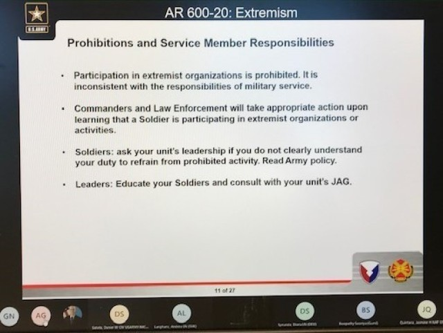 During the extremism training, slides were shown showing the responsibilities of Solders, officers and civilians on addressing extremism in the ranks.
