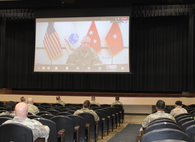 Maj. Gen. John P. Sullivan, commanding general, 1st Theater Sustainment Command, introduced presenter Obbie West to 1st TSC Soldiers via Microsoft Teams. Sullivan stressed the importance of awareness and zero tolerance of sexual assault and harassment within the command.