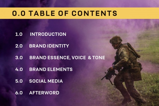 U.S. Army Chaplain Corps Brand Guide Table of Contents
