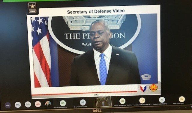The Secretary of Defense, Lloyd Austin, opened up the extremist training with a pre-recorded message on its importance.