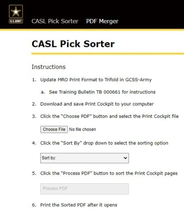 The CASL Pick Sorter application allows Soldiers working in Supply Support Activities to sort lists of items to pick by location, parts or unit. Soldiers can access the app via military networks at https://armyfirst.apps.platform.futures.army.mil/.
