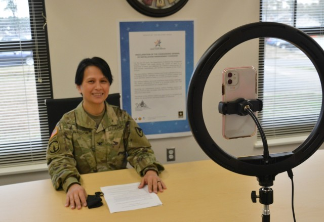 Col. Karin L. Watson, Fort Lee garrison commander, discusses the resilience of youngsters in the Army community during a virtual Month of the Military Child kickoff program April 1. The presentation was livestreamed on the Family and MWR Child and Youth Services Facebook page. (U.S. Army Photo by Patrick Buffett)