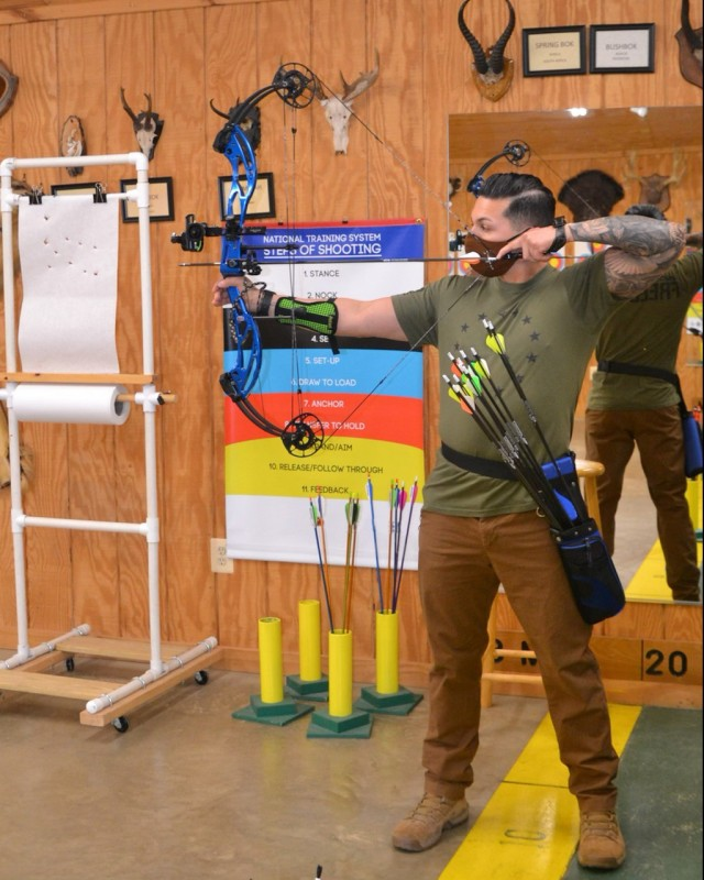 Sgt. Jose Alfaro from the Soldier Recovery Unit at the Walter Reed National Military Medical Center participates in the archery event at the 2021 Army Trials. (Photo via Sgt. Jose Alfaro)