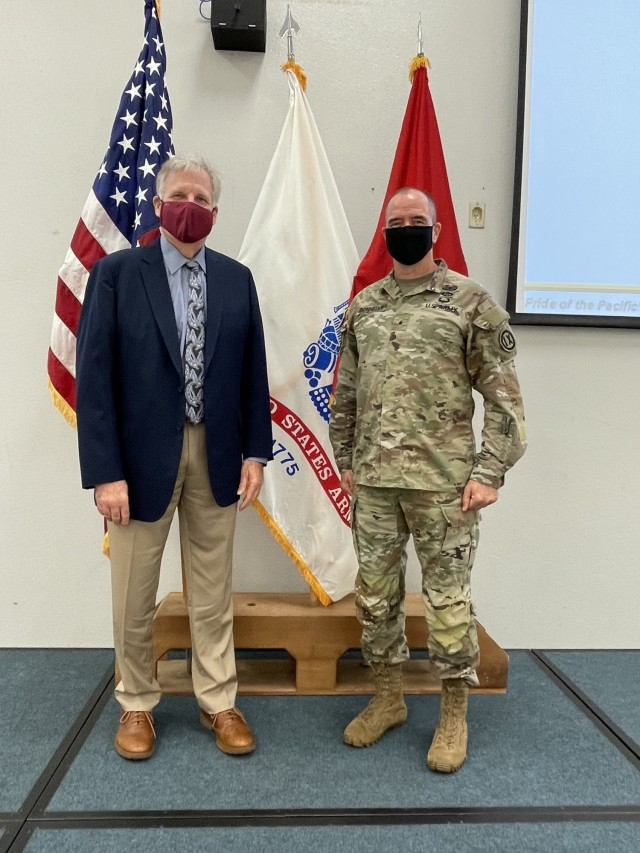 Brig. Gen. Timothy Connelly, Commanding General of the 9th MSC, welcomes the newly appointed Army Reserve Ambassador, Brig. Gen. (Ret.) Alexander Kozlov