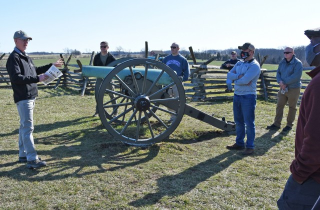 GETTYSBURG, Pennsylvania - David Dworak, U.S. Army War College, leads the first in person Nominative Leaders Course since COVID-19 and virtual classes, on a Staff Ride across the famed battlefield of the Civil War. (Photo by Master Sgt. Crista Mary, Mack, U.S. Army Center of Military History)