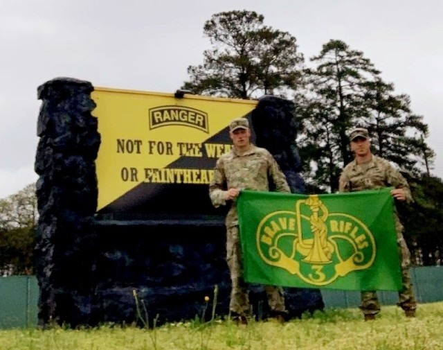 1st Lt. Brian Billings from 2nd Squadron and 1st Lt. Nick Layden from 4th Squadron, 3rd Cavalry Regiment, will be representing the Brave Rifles during the 2021 Best Ranger Competition at Fort Benning, Georgia, from April 11-16. (U.S. Army Courtesy Photo)