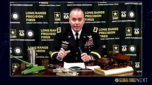 """Brig. Gen. John Rafferty, director of the Long-Range Precision Fires Cross-Functional Team, discusses how the Army has adopted a """"combined arms"""" mindset for each of the service's eight cross-functional teams during the Global Force Next symposium on March 16, 2021. He said that Project Convergence, the Army's initiative to merge joint capabilities across multiple domains, provides the guidelines for the Army's modernization efforts."""