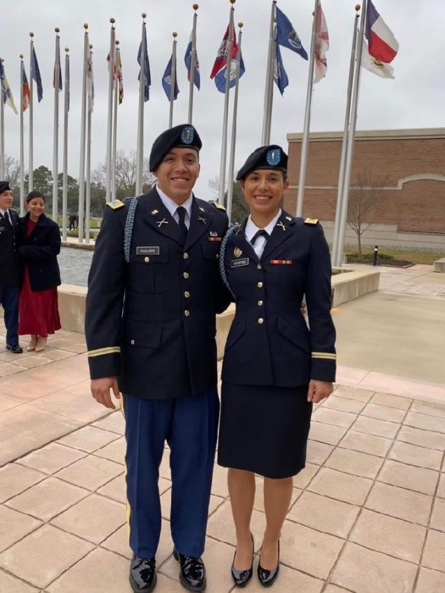 1st Lt. Maria Eggers is seen here with a classmate from her platoon following her Infantry Basic Officer Leader Course Graduation at Fort Benning, Georgia on January 30, 2020. (U.S. Army Courtesy Photo)